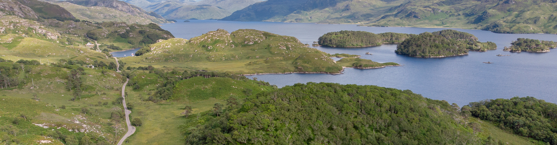 Loch Morar shot from air looking west