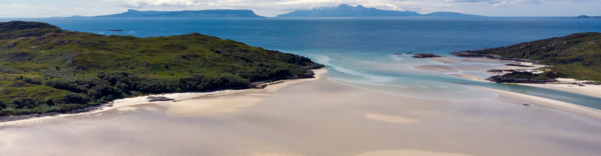 Morar Bay from the air with Eigg and Rum in the distance
